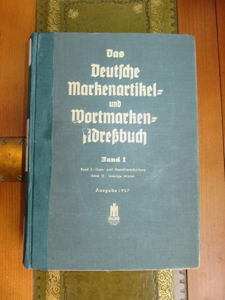 Das Deutsche Markenartikel und Wortmarken Adreßbuch von 1937