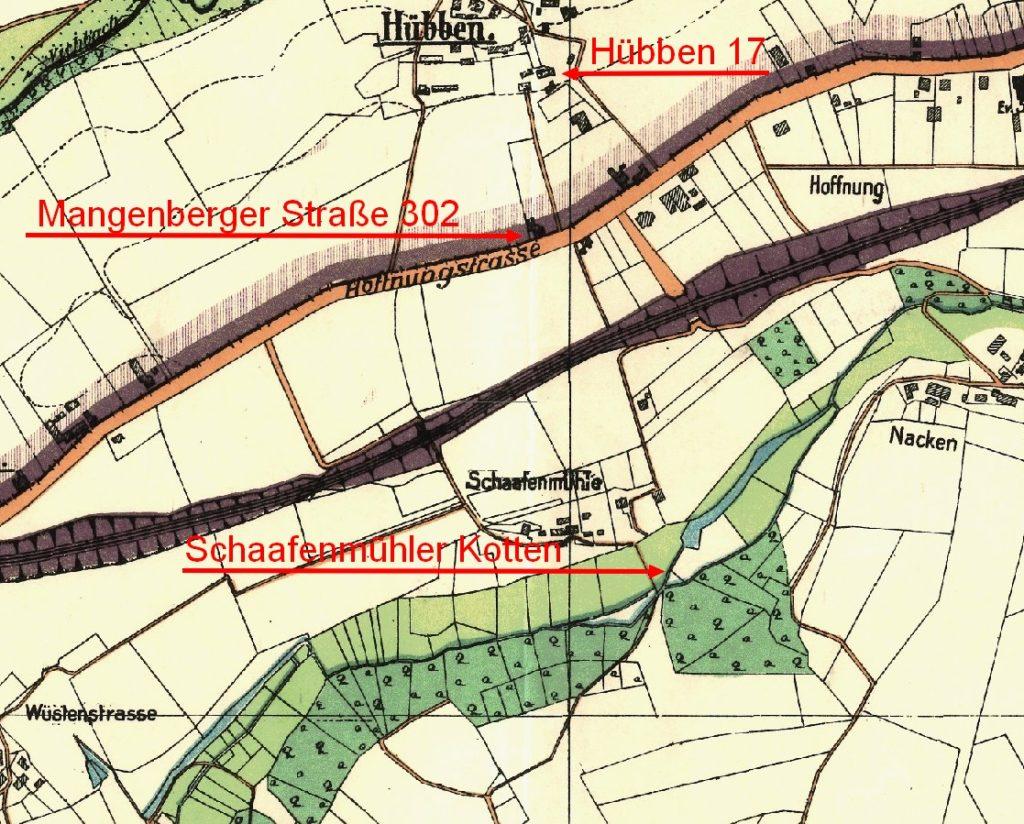 Auszug aus der Solinger Stadtkarte von 1929, Hübben und Schaafenmühle