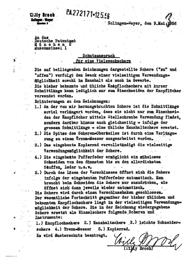 Willy Broch's Patentantrag